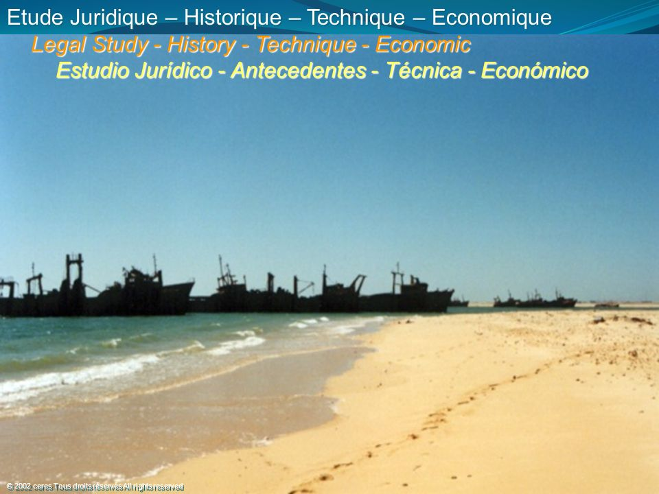 Etude Juridique – Historique – Technique – Economique Legal Study - History - Technique - Economic Legal Study - History - Technique - Economic Estudio Jurídico - Antecedentes - Técnica - Económico Estudio Jurídico - Antecedentes - Técnica - Económico © 2002 ceres Tous droits réservés All rights reserved