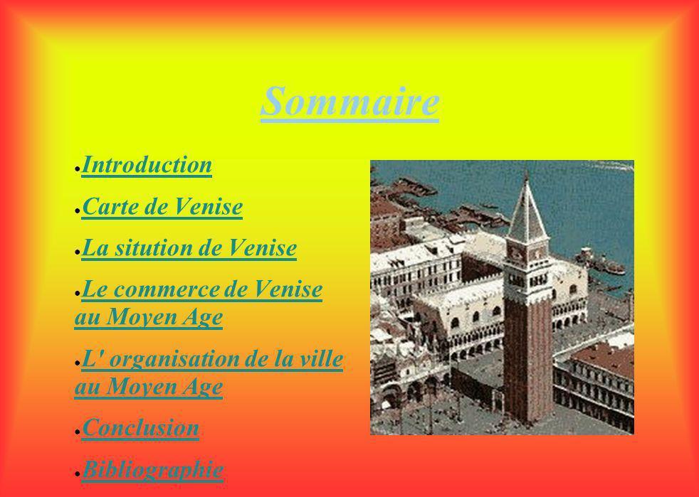 Sommaire Introduction Carte de Venise La sitution de Venise Le commerce de Venise au Moyen Age L organisation de la ville au Moyen Age Conclusion Bibliographie