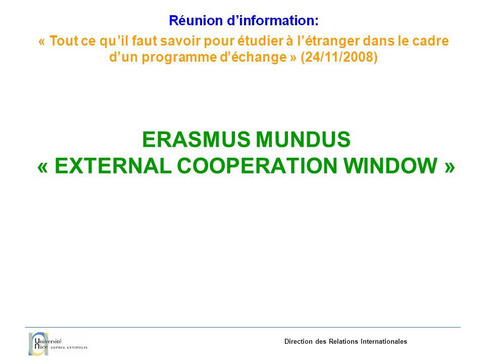 «Tout ce quil faut savoir pourétudieràlétranger dans le cadre dun programme déchange»(24/11/2008) Direction des Relations Internationales ERASMUS MUNDUS « EXTERNAL COOPERATION WINDOW »