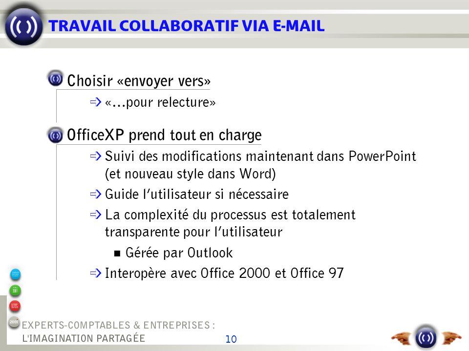 10 TRAVAIL COLLABORATIF VIA E-MAIL Choisir «envoyer vers» «…pour relecture» OfficeXP prend tout en charge é Suivi des modifications maintenant dans Po