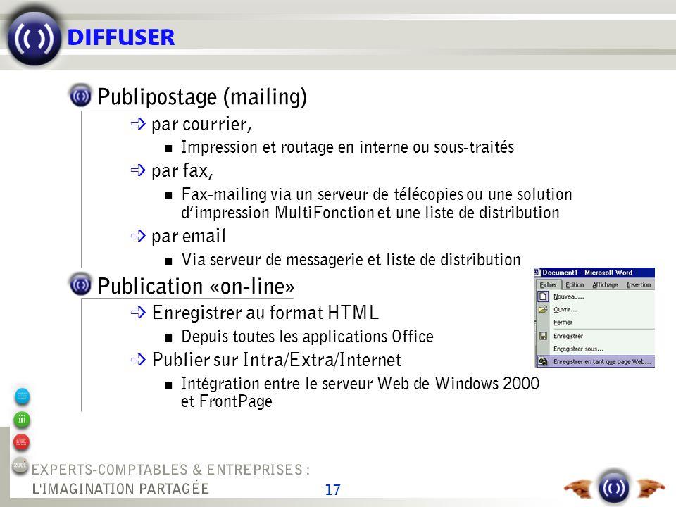 17 DIFFUSER Publipostage (mailing) par courrier, Impression et routage en interne ou sous-traités par fax, Fax-mailing via un serveur de télécopies ou