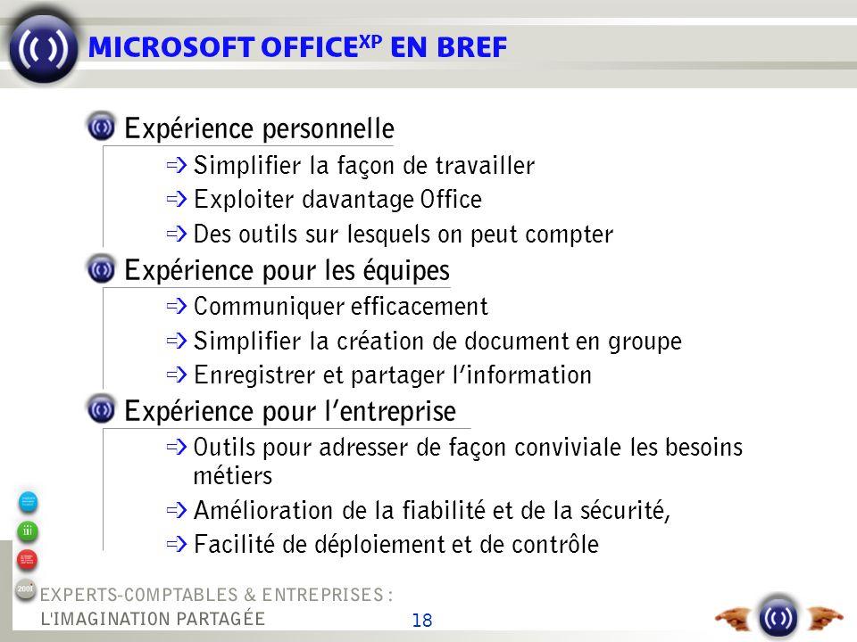 18 MICROSOFT OFFICE XP EN BREF Expérience personnelle é Simplifier la façon de travailler é Exploiter davantage Office Des outils sur lesquels on peut
