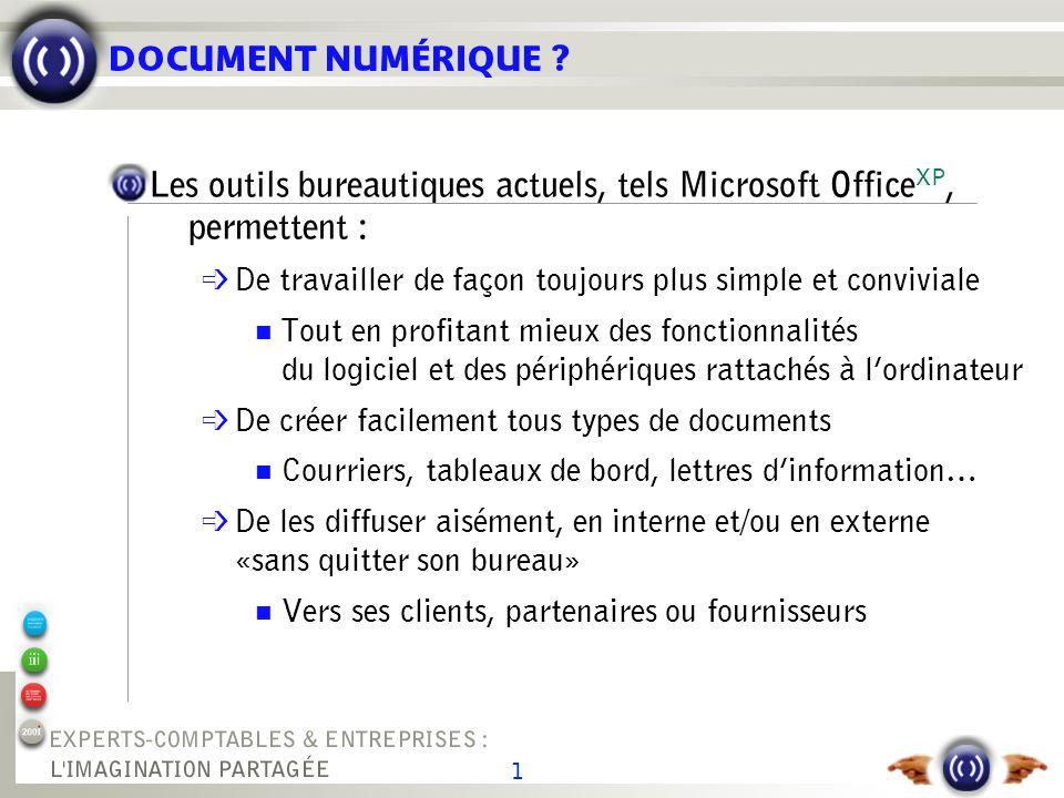 1 DOCUMENT NUMÉRIQUE ? Les outils bureautiques actuels, tels Microsoft Office XP, permettent : é De travailler de façon toujours plus simple et conviv