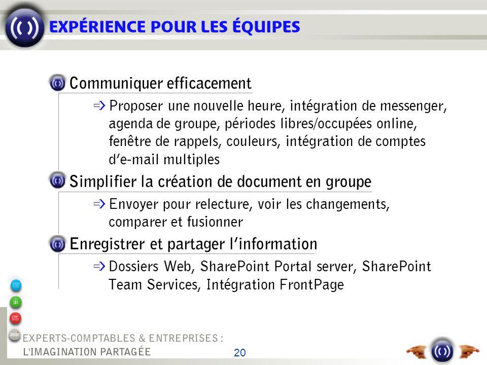 20 EXPÉRIENCE POUR LES ÉQUIPES Communiquer efficacement é Proposer une nouvelle heure, intégration de messenger, agenda de groupe, périodes libres/occ