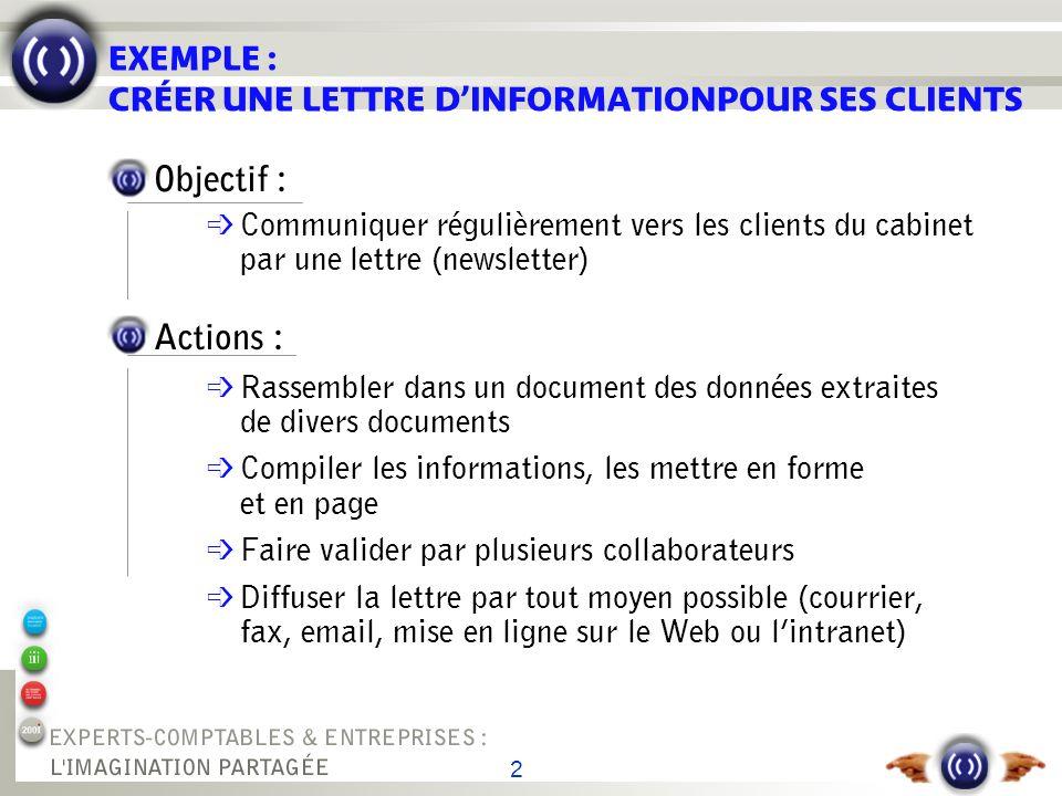 2 EXEMPLE : CRÉER UNE LETTRE DINFORMATIONPOUR SES CLIENTS Objectif : é Communiquer régulièrement vers les clients du cabinet par une lettre (newslette