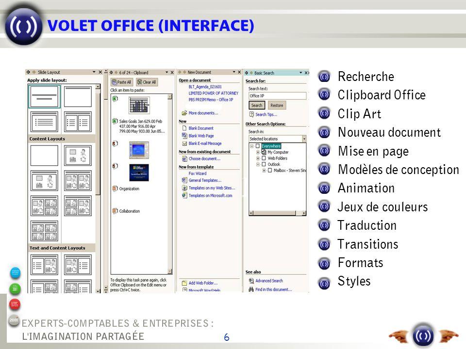 6 VOLET OFFICE (INTERFACE) Recherche Clipboard Office Clip Art Nouveau document Mise en page Modèles de conception Animation Jeux de couleurs Traducti