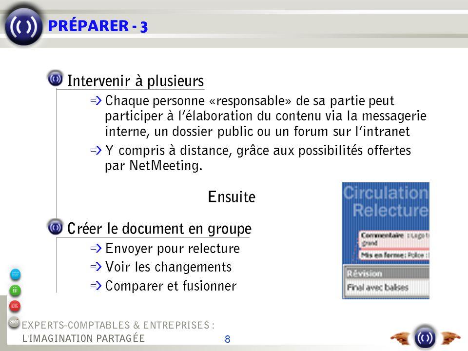 8 PRÉPARER - 3 Intervenir à plusieurs é Chaque personne «responsable» de sa partie peut participer à lélaboration du contenu via la messagerie interne