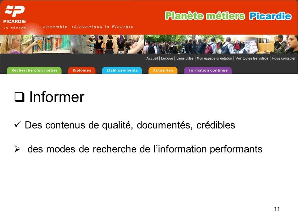11 Informer Des contenus de qualité, documentés, crédibles des modes de recherche de linformation performants