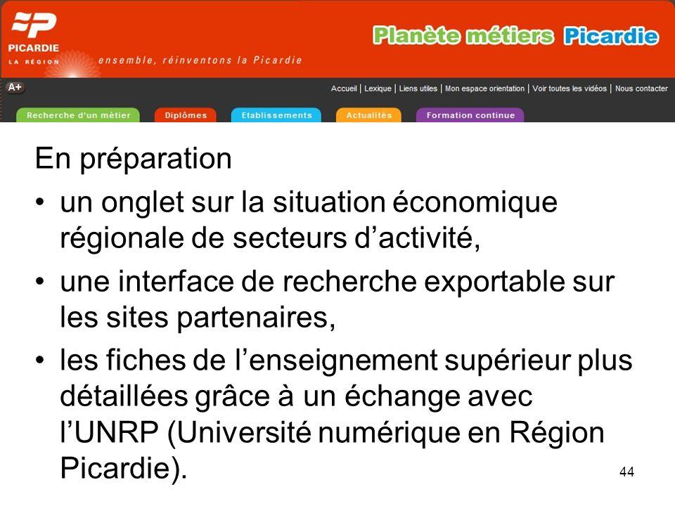 44 En préparation un onglet sur la situation économique régionale de secteurs dactivité, une interface de recherche exportable sur les sites partenaires, les fiches de lenseignement supérieur plus détaillées grâce à un échange avec lUNRP (Université numérique en Région Picardie).