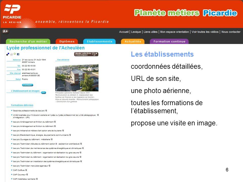 6 Les établissements coordonnées détaillées, URL de son site, une photo aérienne, toutes les formations de létablissement, propose une visite en image.