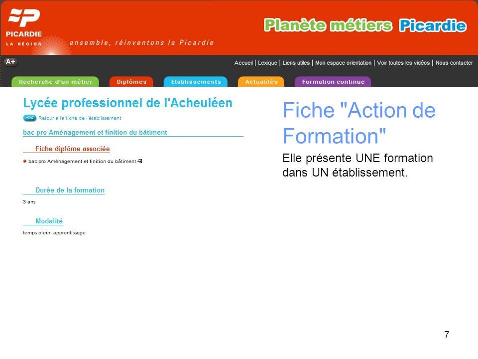 7 Fiche Action de Formation Elle présente UNE formation dans UN établissement.