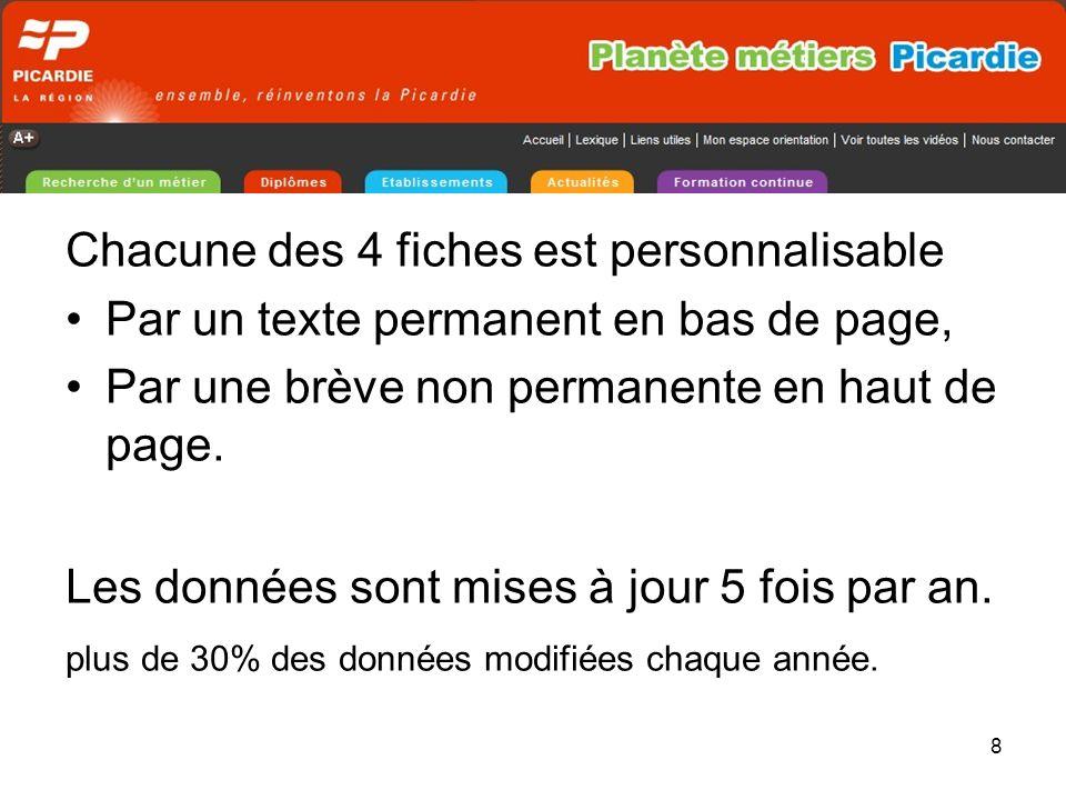 9 Planète métiers Picardie cest : 541 fiches-métiers complètes, 321 établissements denseignement et de formation répertoriés, toutes les formations initiales de Picardie.