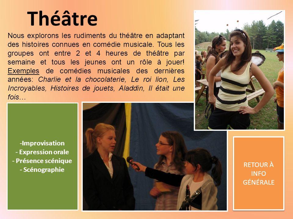 Théâtre RETOUR À INFO GÉNÉRALE RETOUR À INFO GÉNÉRALE Nous explorons les rudiments du théâtre en adaptant des histoires connues en comédie musicale.