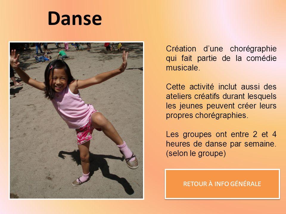 Danse RETOUR À INFO GÉNÉRALE Création dune chorégraphie qui fait partie de la comédie musicale.