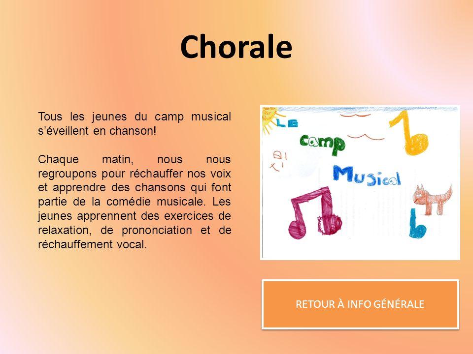 Chorale RETOUR À INFO GÉNÉRALE Tous les jeunes du camp musical séveillent en chanson.