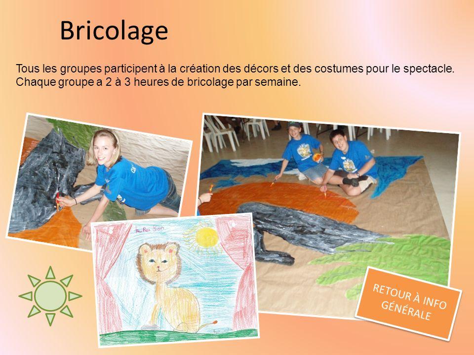 Bricolage RETOUR À INFO GÉNÉRALE RETOUR À INFO GÉNÉRALE Tous les groupes participent à la création des décors et des costumes pour le spectacle.