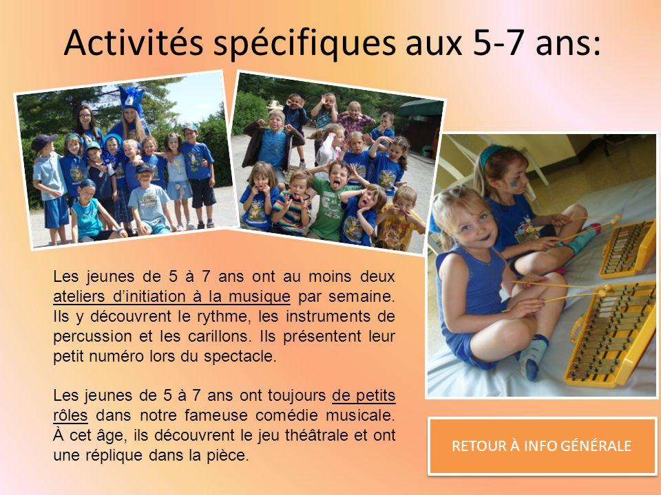Activités spécifiques aux 5-7 ans: RETOUR À INFO GÉNÉRALE Les jeunes de 5 à 7 ans ont au moins deux ateliers dinitiation à la musique par semaine.