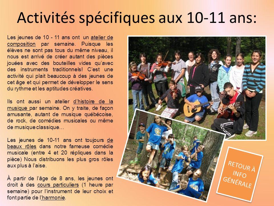 Activités spécifiques aux 10-11 ans: RETOUR À INFO GÉNÉRALE RETOUR À INFO GÉNÉRALE Les jeunes de 10 - 11 ans ont un atelier de composition par semaine.