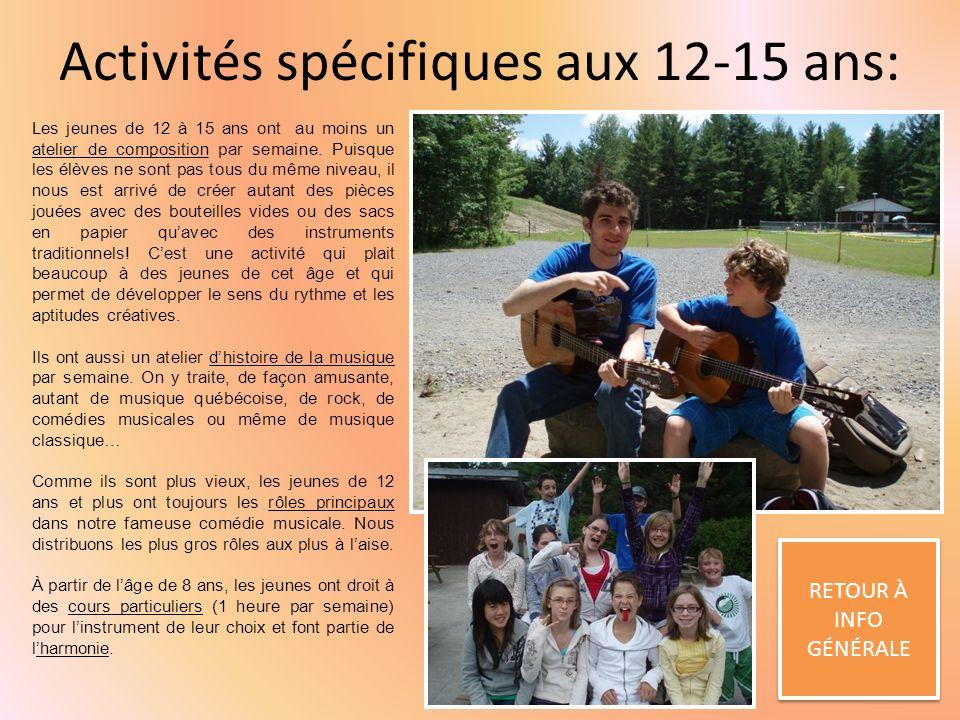 Activités spécifiques aux 12-15 ans: RETOUR À INFO GÉNÉRALE RETOUR À INFO GÉNÉRALE Les jeunes de 12 à 15 ans ont au moins un atelier de composition par semaine.