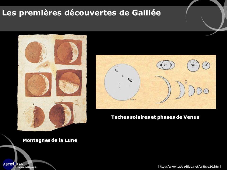 Les premières découvertes de Galilée Montagnes de la Lune Taches solaires et phases de Venus http://www.astrofiles.net/article20.html