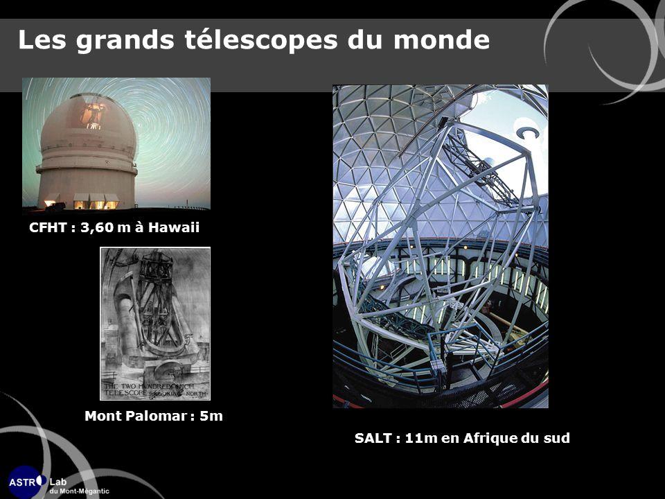 Les grands télescopes du monde CFHT : 3,60 m à Hawaii Mont Palomar : 5m SALT : 11m en Afrique du sud