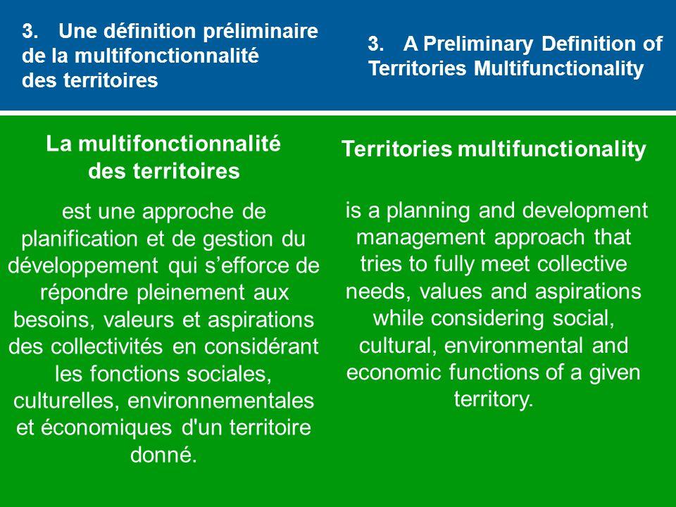 3. Une définition préliminaire de la multifonctionnalité des territoires La multifonctionnalité des territoires est une approche de planification et d