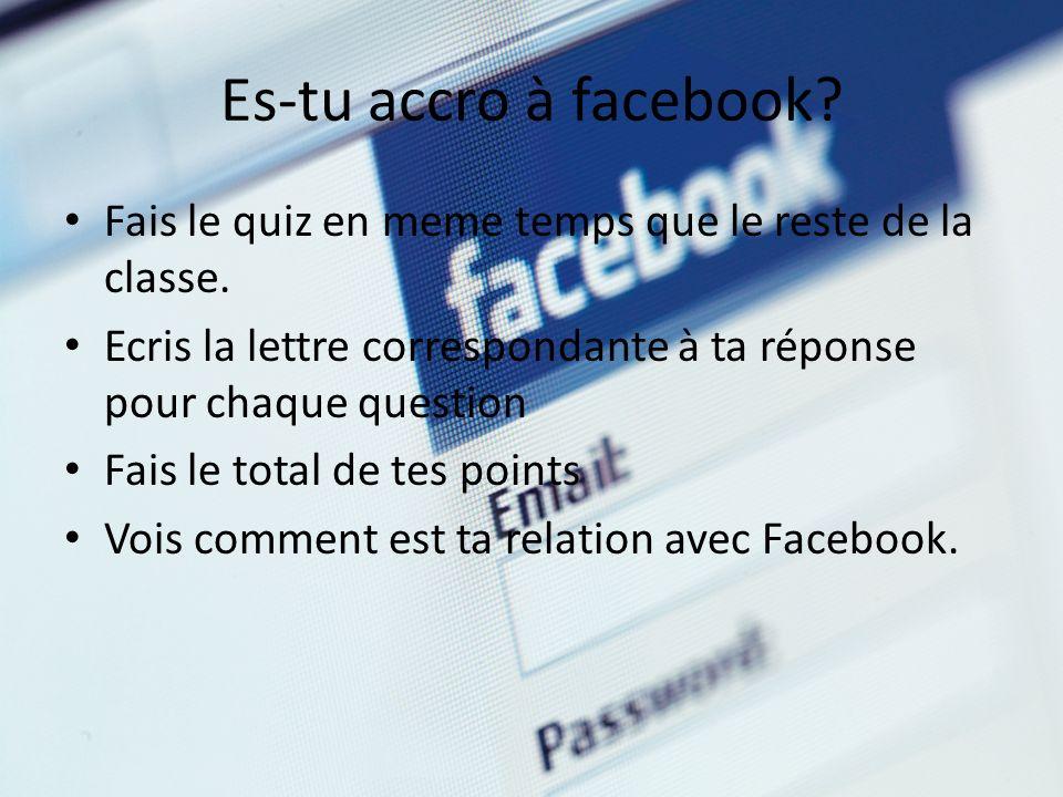 Es-tu accro à facebook? Fais le quiz en meme temps que le reste de la classe. Ecris la lettre correspondante à ta réponse pour chaque question Fais le