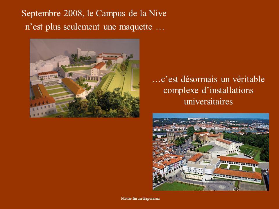 Septembre 2008, le Campus de la Nive nest plus seulement une maquette … Mettre fin au diaporama …cest désormais un véritable complexe dinstallations universitaires