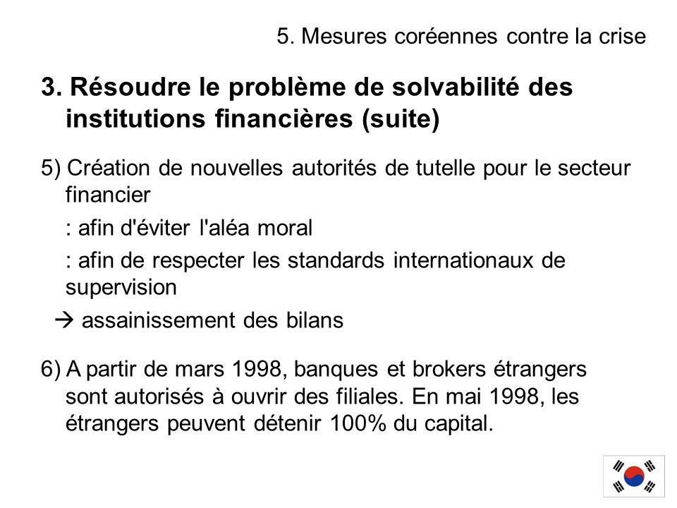 3. Résoudre le problème de solvabilité des institutions financières (suite) 5) Création de nouvelles autorités de tutelle pour le secteur financier :