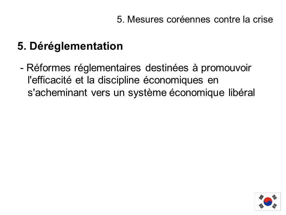 5. Déréglementation - Réformes réglementaires destinées à promouvoir l'efficacité et la discipline économiques en s'acheminant vers un système économi