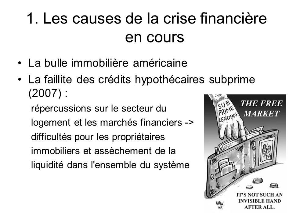 1. Les causes de la crise financière en cours La bulle immobilière américaine La faillite des crédits hypothécaires subprime (2007) : répercussions su
