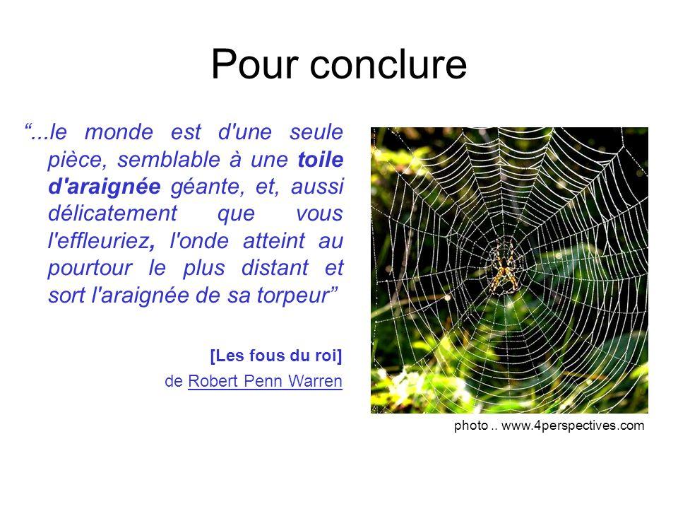 Pour conclure...le monde est d'une seule pièce, semblable à une toile d'araignée géante, et, aussi délicatement que vous l'effleuriez, l'onde atteint