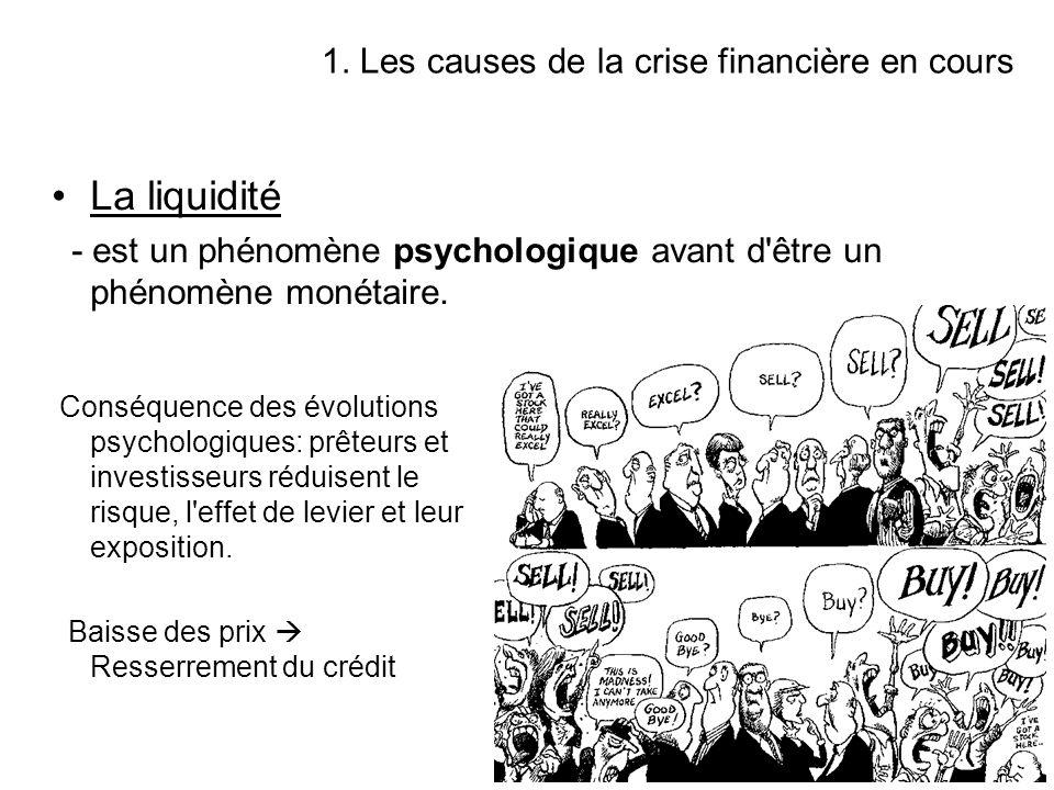 1. Les causes de la crise financière en cours La liquidité - est un phénomène psychologique avant d'être un phénomène monétaire. Conséquence des évolu