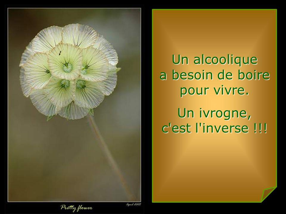Un alcoolique a besoin de boire pour vivre. Un ivrogne, c est l inverse !!!