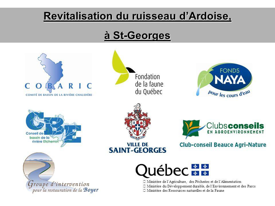 Revitalisation du ruisseau dArdoise, à St-Georges Ministère de lAgriculture, des Pêcheries et de lAlimentation Ministère du Développement durable, de lEnvironnement et des Parcs Ministère des Ressources naturelles et de la Faune