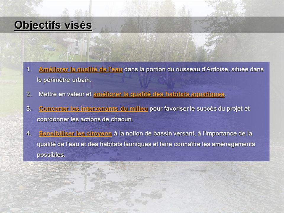 Objectifs visés 1. Améliorer la qualité de l'eau dans la portion du ruisseau d'Ardoise, située dans le périmètre urbain. 2. Mettre en valeur et amélio