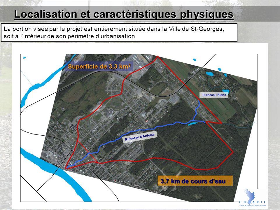 La portion visée par le projet est entièrement située dans la Ville de St-Georges, soit à lintérieur de son périmètre durbanisation 3,7 km de cours deau Superficie de 3,3 km 2 Localisation et caractéristiques physiques Ruisseau dArdoise Ruisseau Blanc
