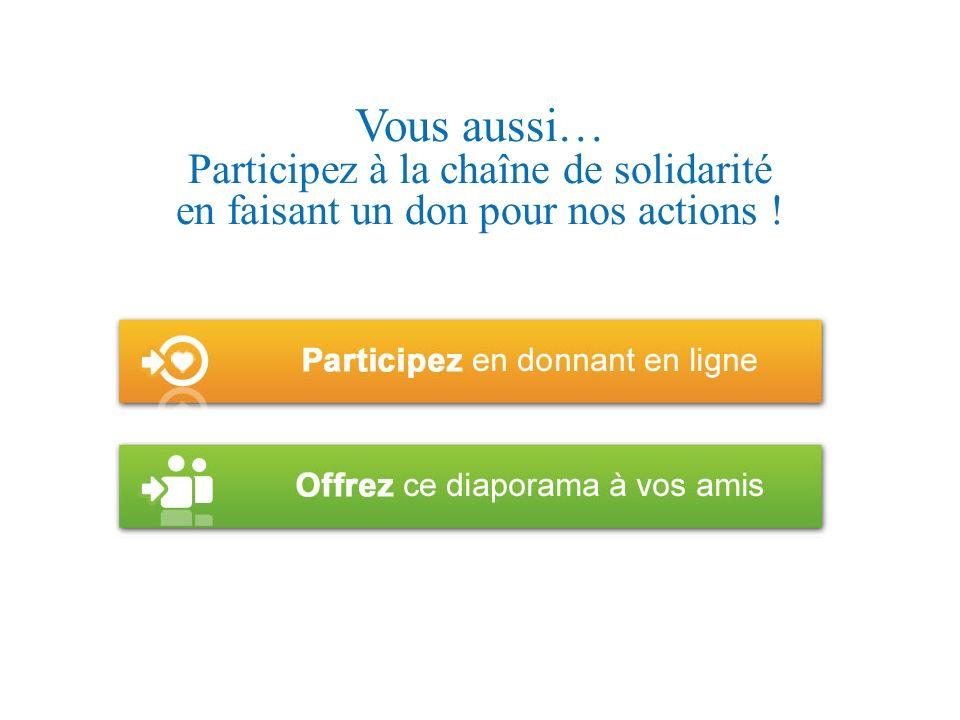 Vous aussi… Participez à la chaîne de solidarité en faisant un don pour nos actions !