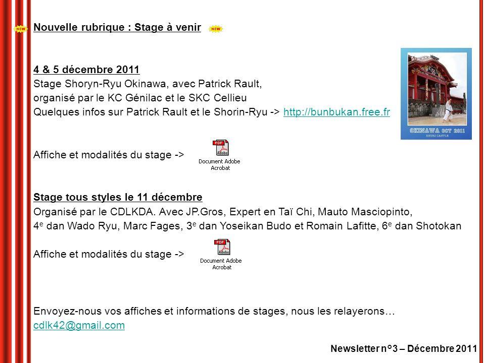 Newsletter n°3 – Décembre 2011 Nouvelle rubrique : Stage à venir 4 & 5 décembre 2011 Stage Shoryn-Ryu Okinawa, avec Patrick Rault, organisé par le KC Génilac et le SKC Cellieu Quelques infos sur Patrick Rault et le Shorin-Ryu -> http://bunbukan.free.frhttp://bunbukan.free.fr Affiche et modalités du stage -> Stage tous styles le 11 décembre Organisé par le CDLKDA.