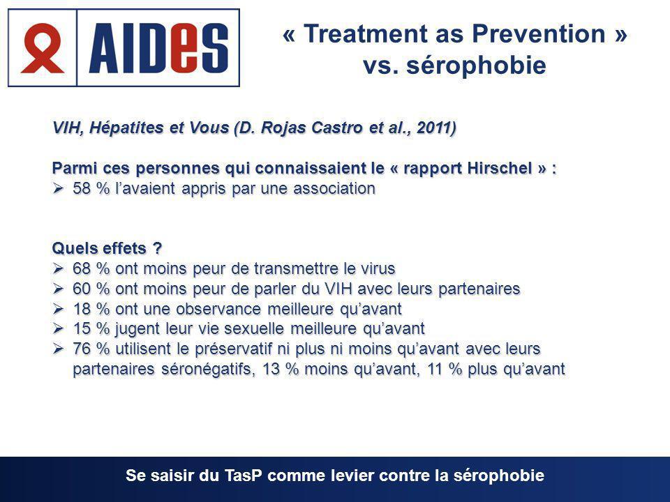 VIH, Hépatites et Vous (D. Rojas Castro et al., 2011) Parmi ces personnes qui connaissaient le « rapport Hirschel » : 58 % lavaient appris par une ass