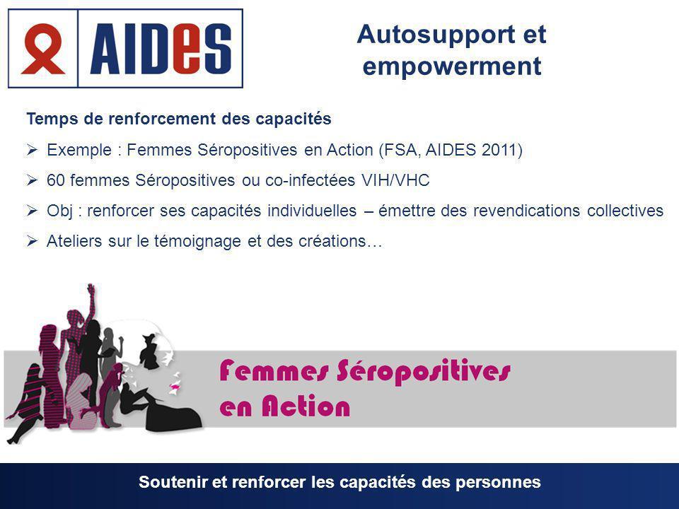 Temps de renforcement des capacités Exemple : Femmes Séropositives en Action (FSA, AIDES 2011) 60 femmes Séropositives ou co-infectées VIH/VHC Obj : r