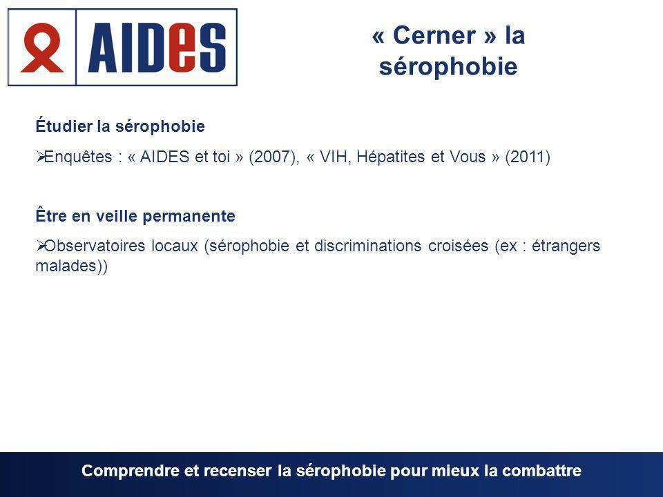 Étudier la sérophobie Enquêtes : « AIDES et toi » (2007), « VIH, Hépatites et Vous » (2011) Être en veille permanente Observatoires locaux (sérophobie