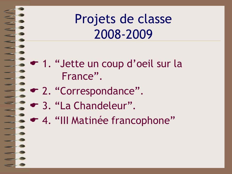 Projets de classe 2008-2009 1. Jette un coup doeil sur la France. 2. Correspondance. 3. La Chandeleur. 4. III Matinée francophone