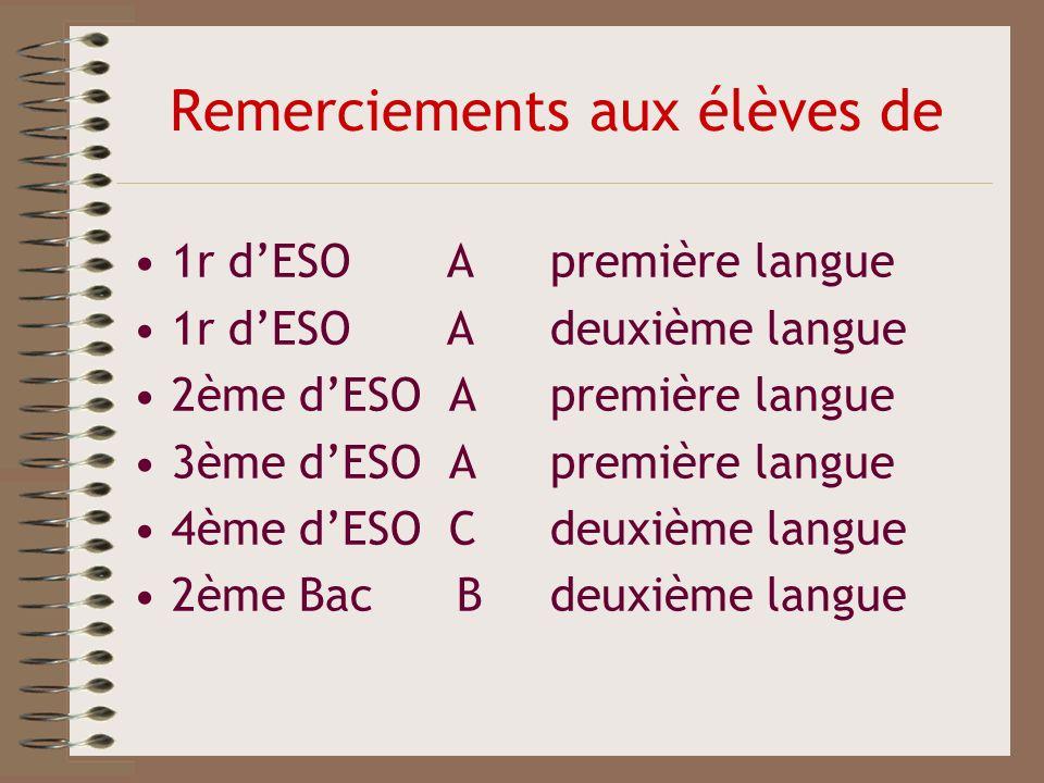 Remerciements aux élèves de 1r dESO Apremière langue 1r dESO A deuxième langue 2ème dESO Apremière langue 3ème dESO Apremière langue 4ème dESO Cdeuxiè