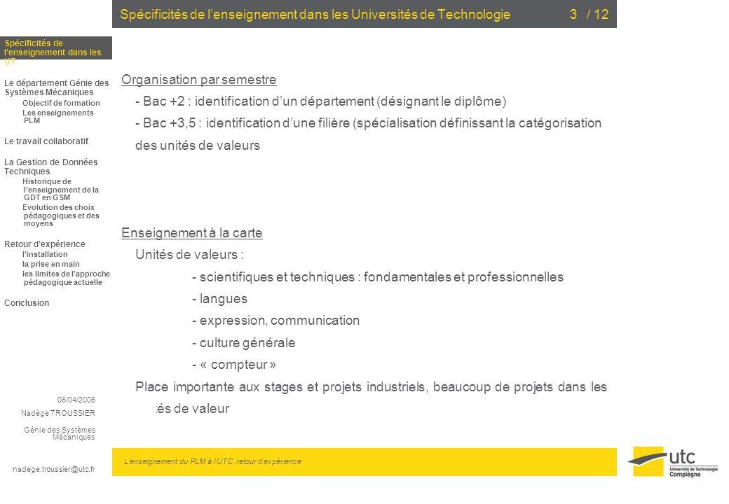 06/04/2006 Nadège TROUSSIER Génie des Systèmes Mécaniques nadege.troussier@utc.fr Lenseignement du PLM à lUTC, retour dexpérience / 123 Organisation p
