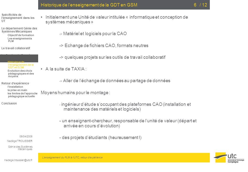 06/04/2006 Nadège TROUSSIER Génie des Systèmes Mécaniques nadege.troussier@utc.fr Lenseignement du PLM à lUTC, retour dexpérience / 126Historique de l