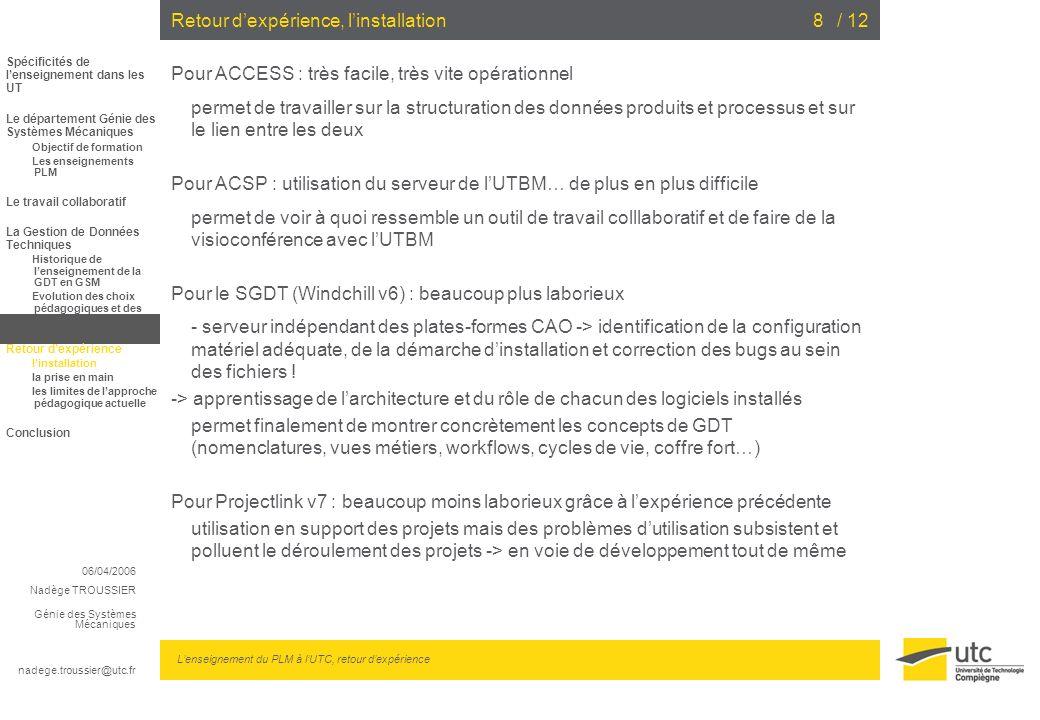 06/04/2006 Nadège TROUSSIER Génie des Systèmes Mécaniques nadege.troussier@utc.fr Lenseignement du PLM à lUTC, retour dexpérience / 128Retour dexpérie