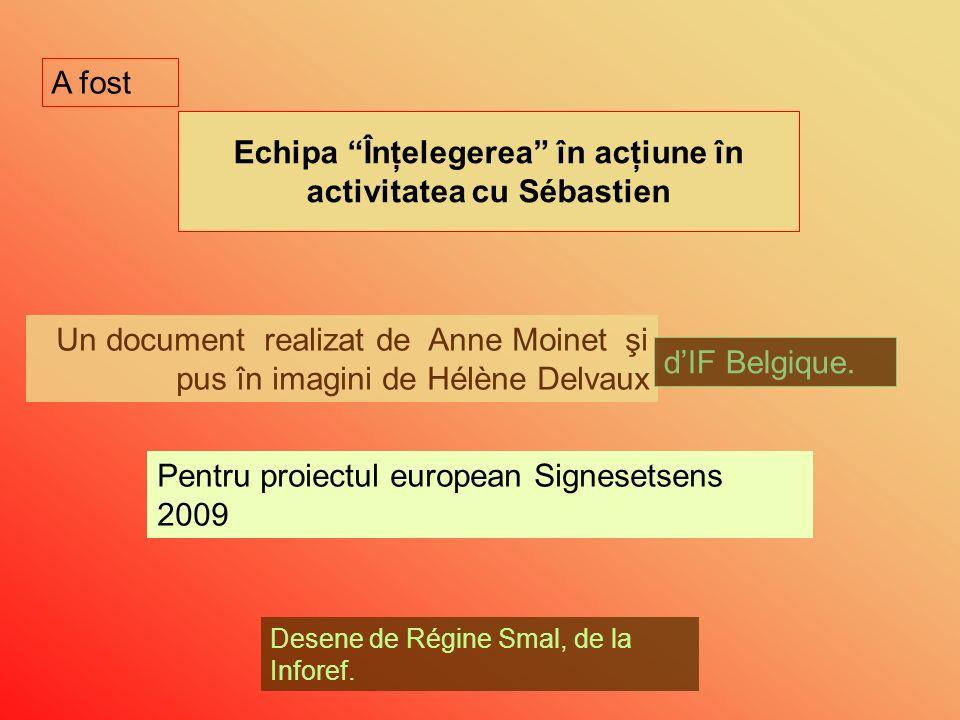 Echipa Înţelegerea în acţiune în activitatea cu Sébastien Un document realizat de Anne Moinet şi pus în imagini de Hélène Delvaux dIF Belgique.