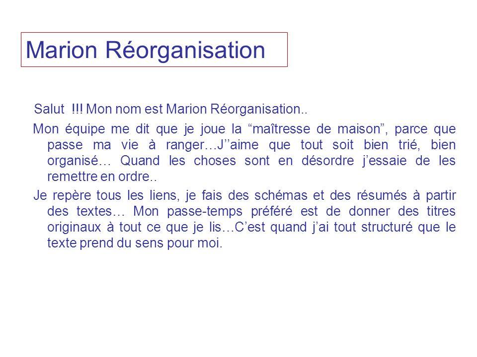 Salut !!! Mon nom est Marion Réorganisation.. Mon équipe me dit que je joue la maîtresse de maison, parce que passe ma vie à ranger…Jaime que tout soi