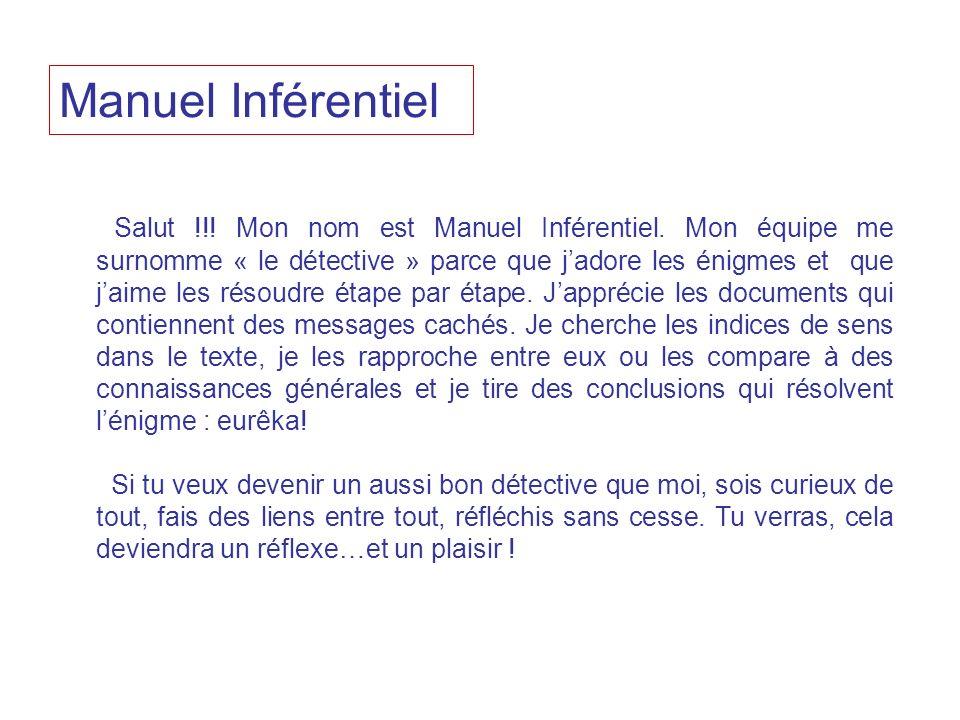 Salut !!! Mon nom est Manuel Inférentiel. Mon équipe me surnomme « le détective » parce que jadore les énigmes et que jaime les résoudre étape par éta